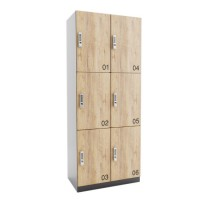 ARTA Houten lockerkast met 6 lockers (3x2)