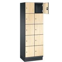 CAMBIO houten locker met 10 vakken - HPL deuren (smal model)