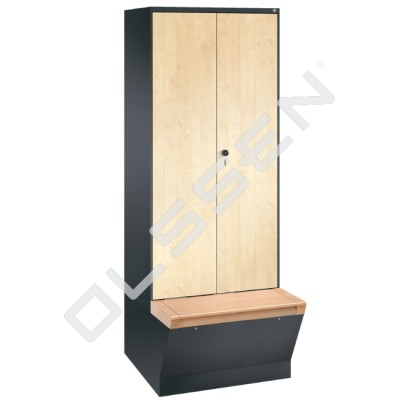 1-Persoons Houten MDF kledinglocker met grote opbergbox (Evolo)