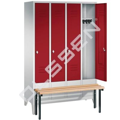 4-persoons kledinglocker met voorgebouwde zitbank (Express)