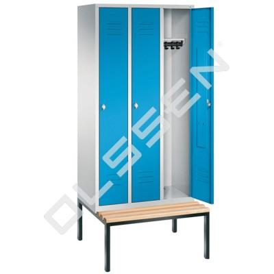 3-persoons kledinglocker met ondergebouwde zitbank (Express)