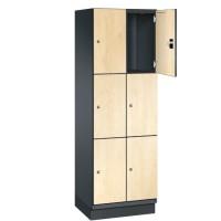 CAMBIO houten locker met 6 vakken - HPL deuren (smal model)