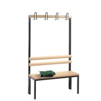 Garderobebank 100 cm breed - Enkelzijdig met houten zitlatten