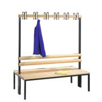 Garderobebank 150 cm breed - Dubbelzijdig met houten zitlatten
