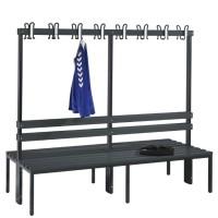 Garderobebank 200 cm breed - Dubbelzijdig met kunststof zitlatten