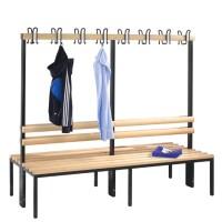 Garderobebank 200 cm breed - Dubbelzijdig met houten zitlatten