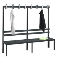Garderobebank 200 cm breed - Enkelzijdig met kunststof zitlatten