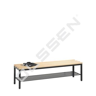 Kleedkamerbank 150 cm breed met schoenenrooster (houten zitlatten)