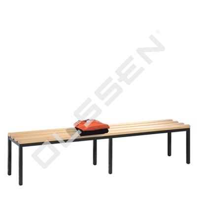 Kleedkamerbank 200 cm breed met houten zitlatten