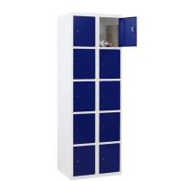 CAPSA metalen locker met 10 smalle vakken (wit - blauw)