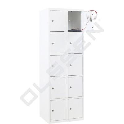 CAPSA metalen locker met 10 smalle vakken (wit)