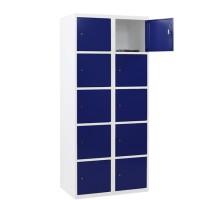 CAPSA metalen locker met 10 brede vakken (wit - blauw)