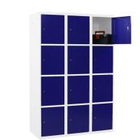 CAPSA metalen locker met 12 brede vakken (wit - blauw)