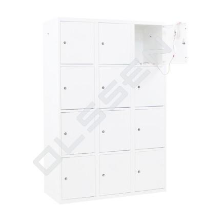 CAPSA metalen locker met 12 brede vakken (wit)