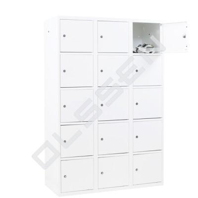 CAPSA metalen locker met 15 brede vakken (wit)