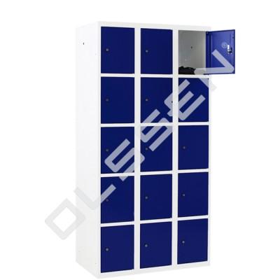 CAPSA metalen locker met 15 smalle vakken (wit - blauw)