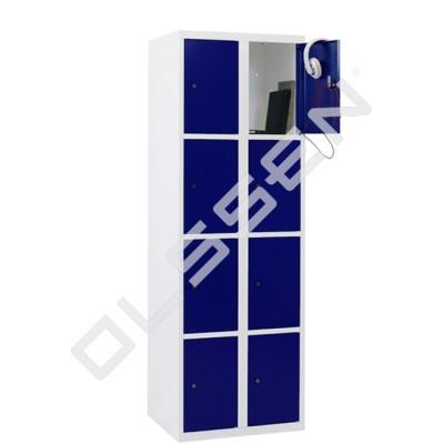 CAPSA metalen locker met 8 smalle vakken (wit - blauw)